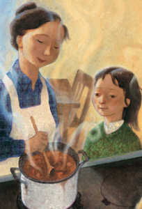 Picture of a mother and her daughter standing next to a stove. The mother is stirring a pot of soup while the young girl looks on.