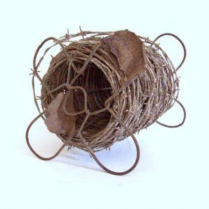 grayish-brown barbed wire spool